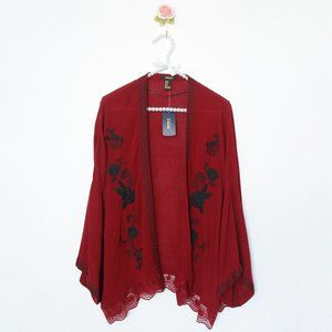 NWT Embroidered Floral Lace Kimono, Red, SMALL